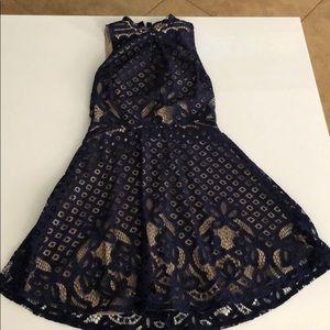 Mini Lace Dress - Navy